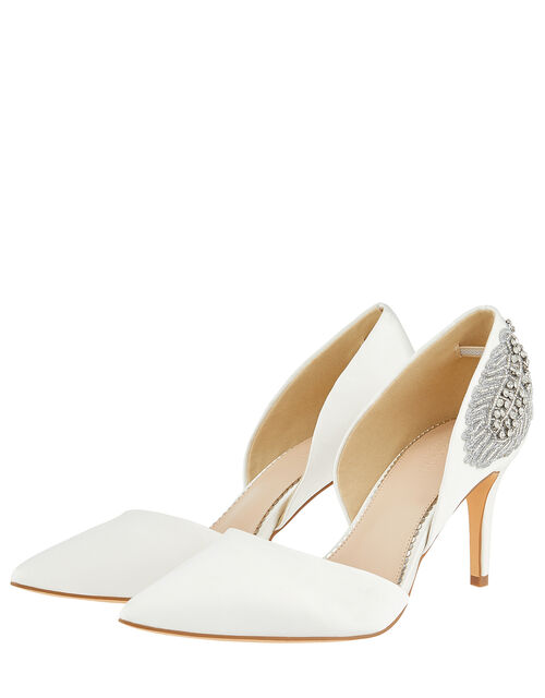 Flori Feather Embellished Point Bridal Heels, Ivory (IVORY), large