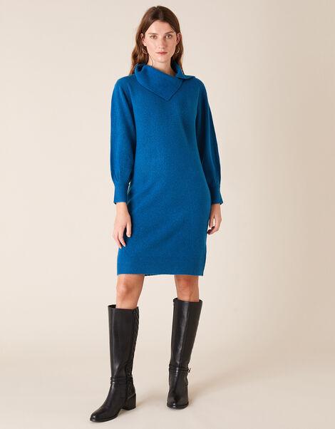 Split Neck Knit Dress Blue, Blue (BLUE), large