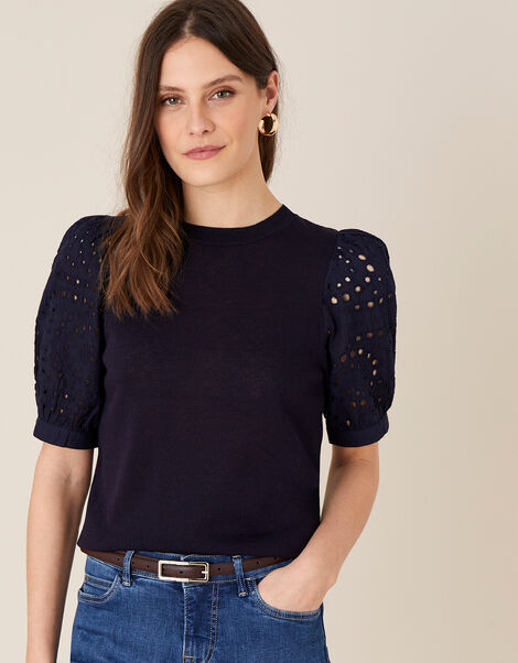 Broderie Sleeve Jumper in Linen Blend Blue, Blue (NAVY), large