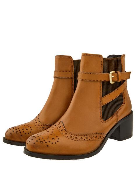 Beryl Brogue Buckle Leather Boots Tan, Tan (TAN), large
