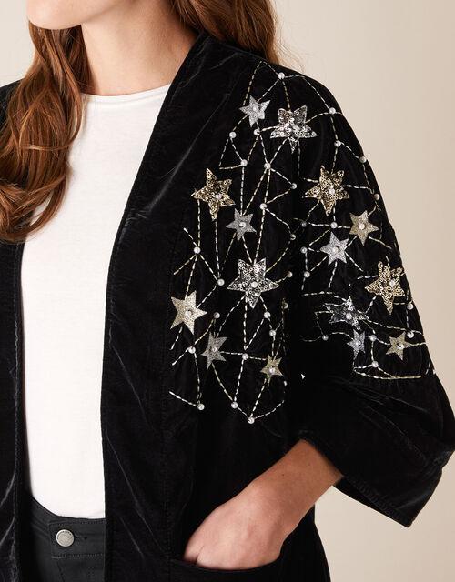Embellished Star Velvet Jacket, Black (BLACK), large