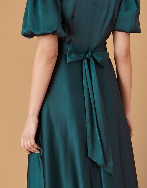 Kristen Puff Sleeve Satin Dress, Teal (TEAL), large
