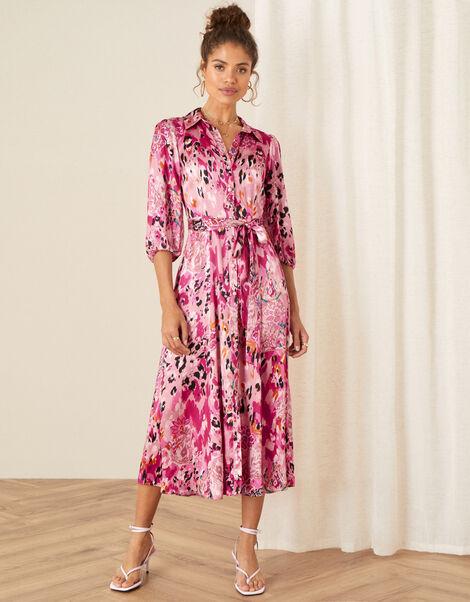 Cameia Animal Print Satin Dress Pink, Pink (PINK), large
