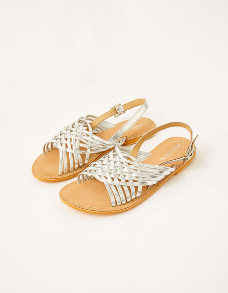 Metallic Weave Leather Sandals Silver, Silver (SILVER), large