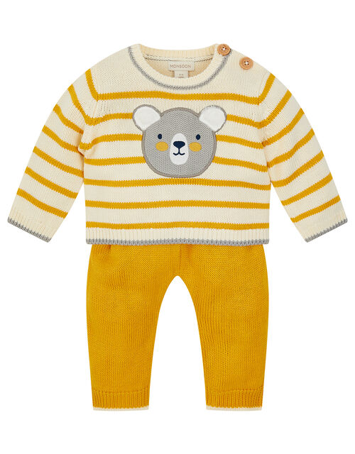 Newborn Bear Stripe Knit Set, Yellow (MUSTARD), large