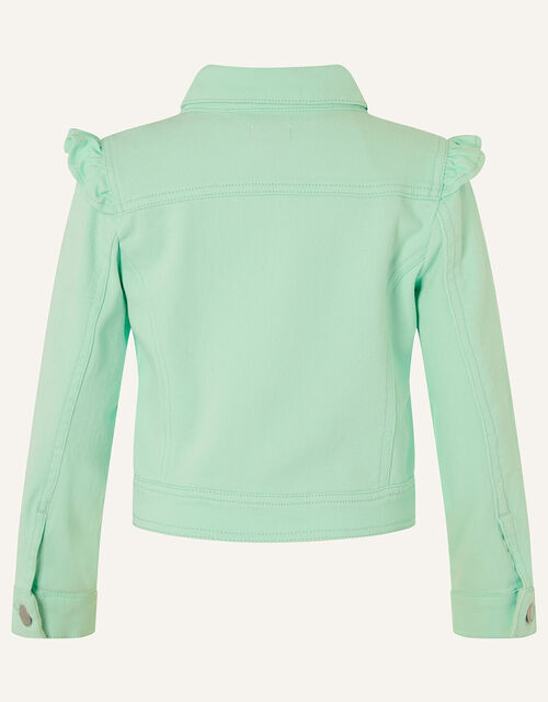 Ruffle Denim Jacket , Blue (AQUA), large