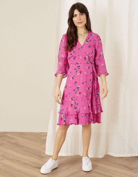 Helen Dealtry Nicamille Floral Wrap Dress Pink, Pink (PINK), large