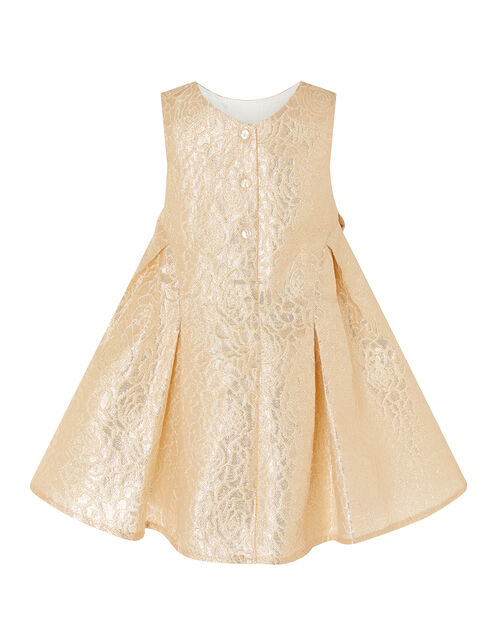 Baby Shimmer Rose Jacquard Dress, Gold (GOLD), large