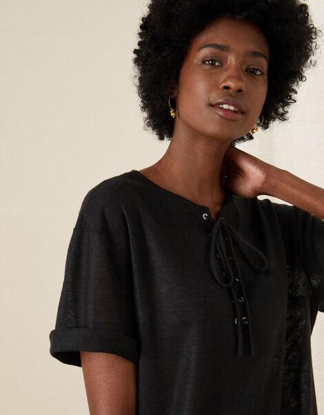 Lace-Up Neck T-Shirt Black, Black (BLACK), large