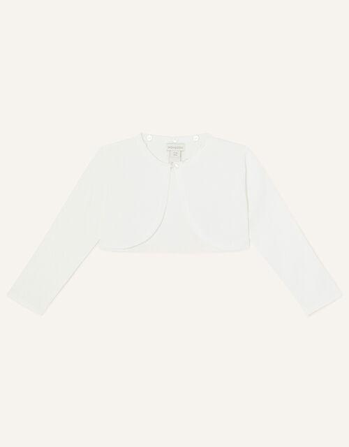 Baby Fluffy Collar Super-Soft Cardigan, Ivory (IVORY), large
