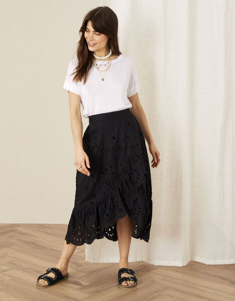 Schiffli Wrap Skirt Black, Black (BLACK), large