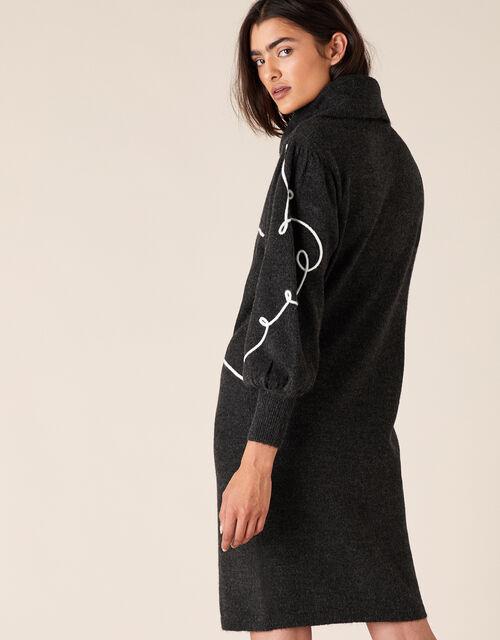 Cornelli Heart Knit Dress, Grey (CHARCOAL), large
