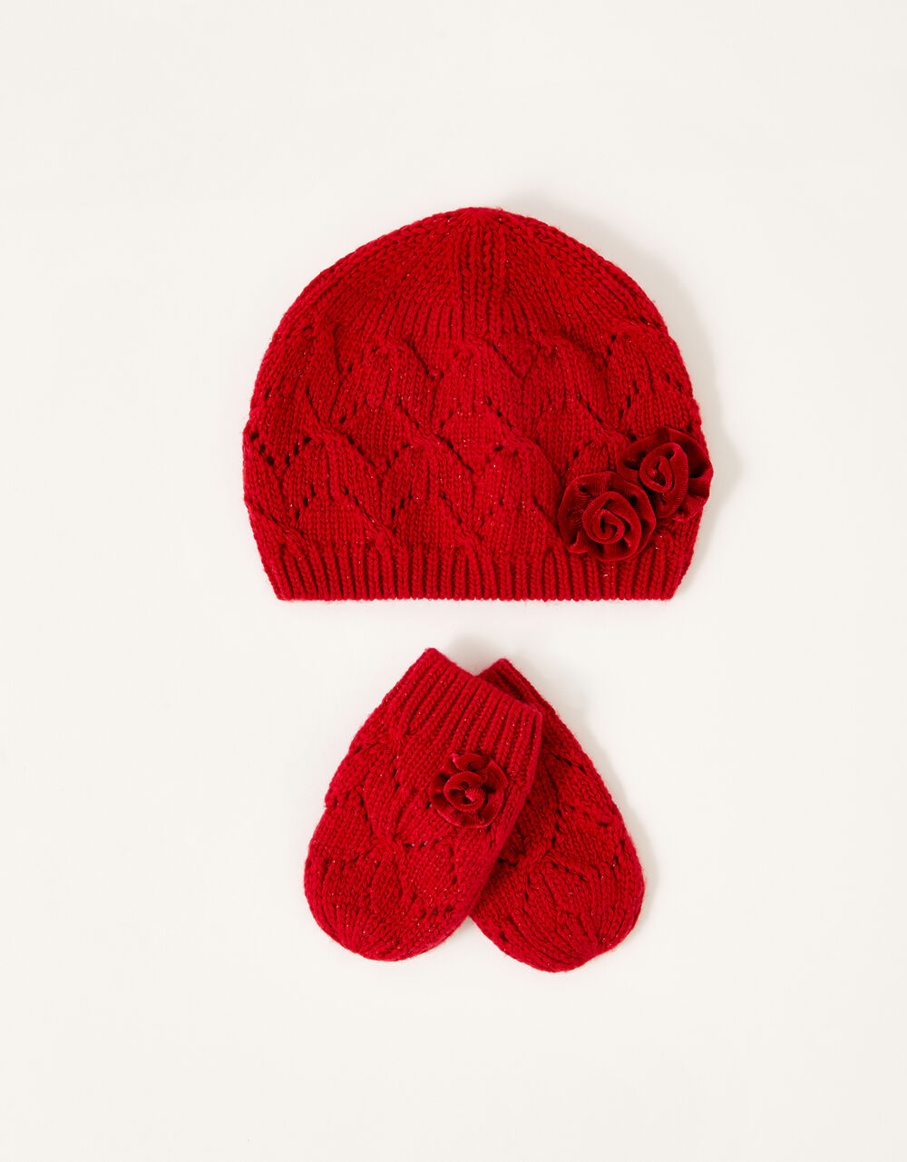 Baby Ruby Beanie and Mittens Set, Red (RED), large