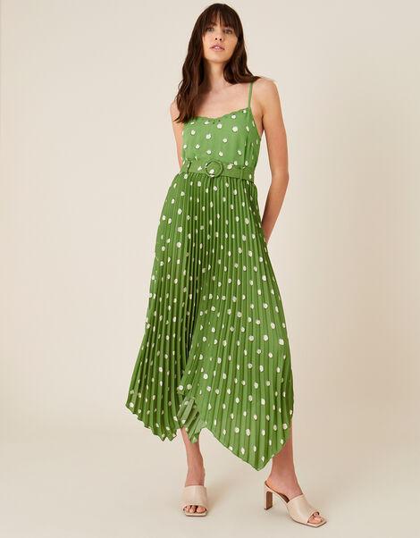 Spot Print Pleated Midi Skirt Green, Green (GREEN), large