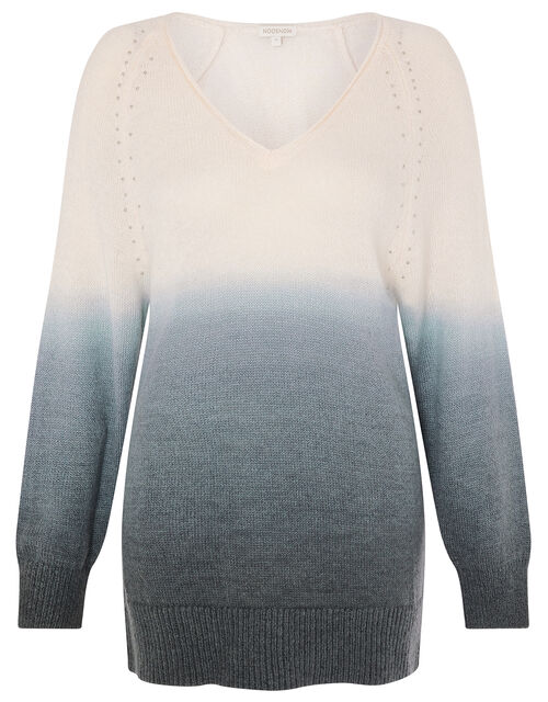 V-Neck Dip-Dye Knit Jumper, Grey (GREY), large