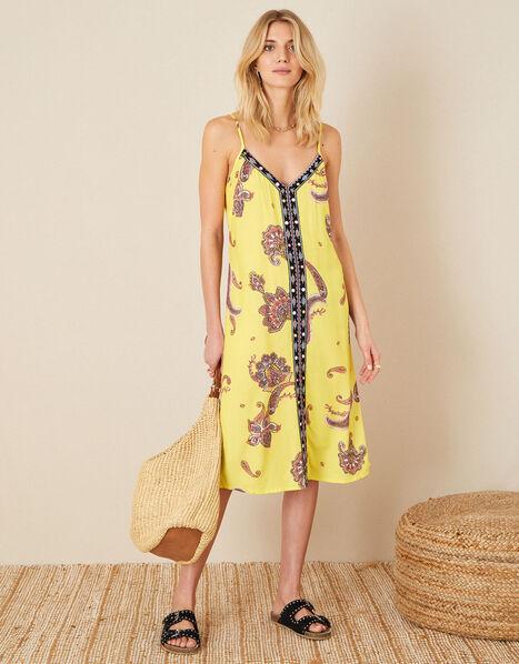 Ashley Paisley Print Dress Yellow, Yellow (YELLOW), large