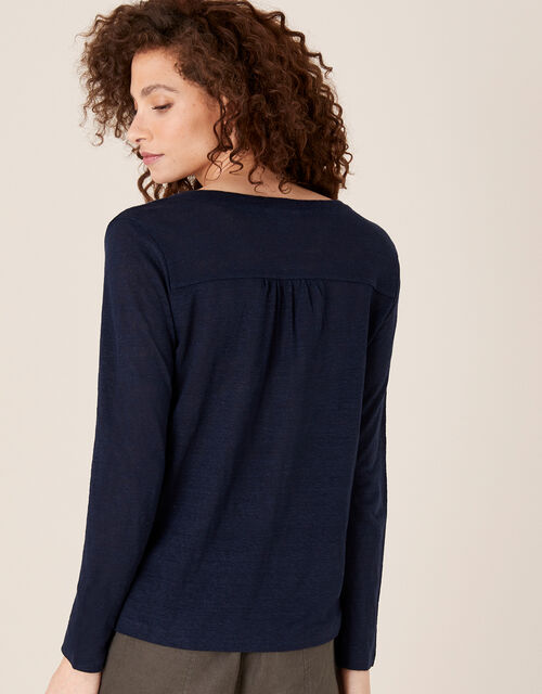 Button-Through Top in Pure Linen, Blue (NAVY), large