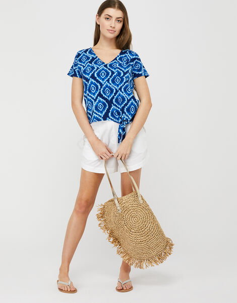 Maya Tie-Dye T-Shirt in Organic Cotton Blue, Blue (BLUE), large