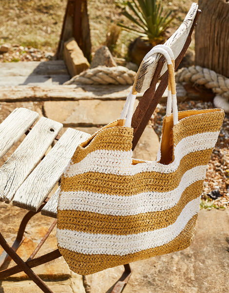 Seema Stripe Straw Shopper Bag, , large