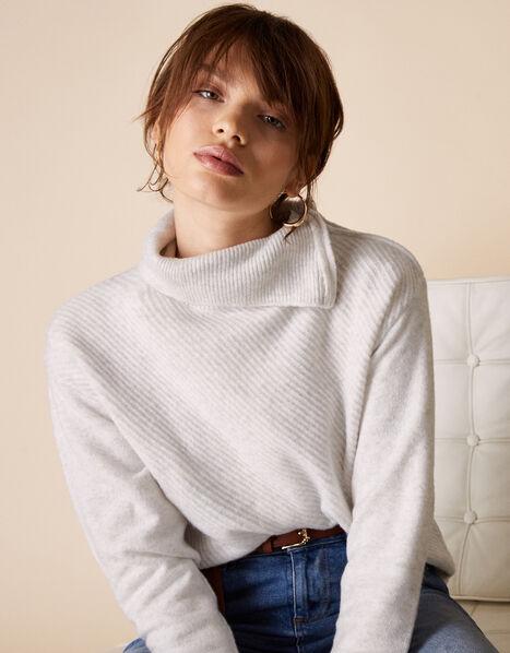 Zip Neck Knit Jumper Grey, Grey (GREY), large