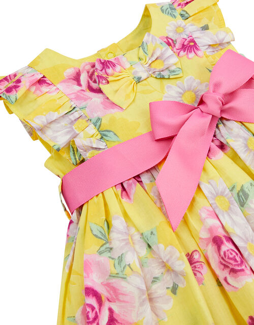 Newborn Baby Floral Dress Set, Yellow (YELLOW), large
