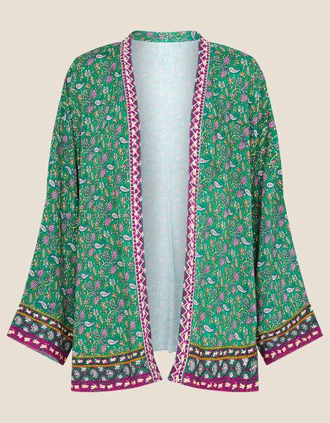 Paisley Print Kimono Green, Green (GREEN), large