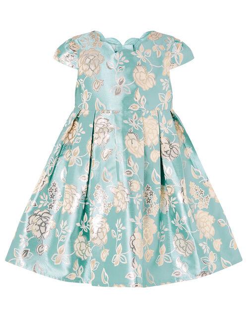 Baby Rose Jacquard Dress, Blue (AQUA), large