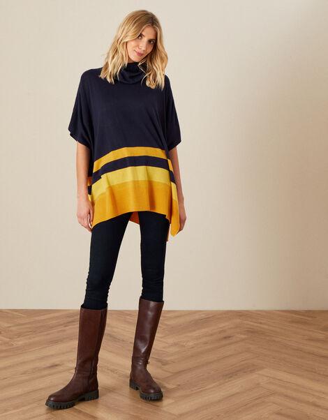 Colourblock Knit Poncho, , large