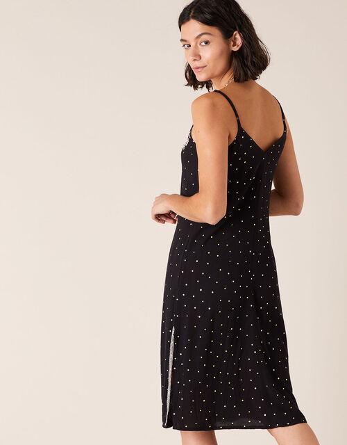 Embellished Crinkle Midi Dress in LENZING™ ECOVERO™ , Black (BLACK), large