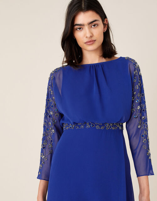 Clover Embellished Dress, Blue (COBALT), large