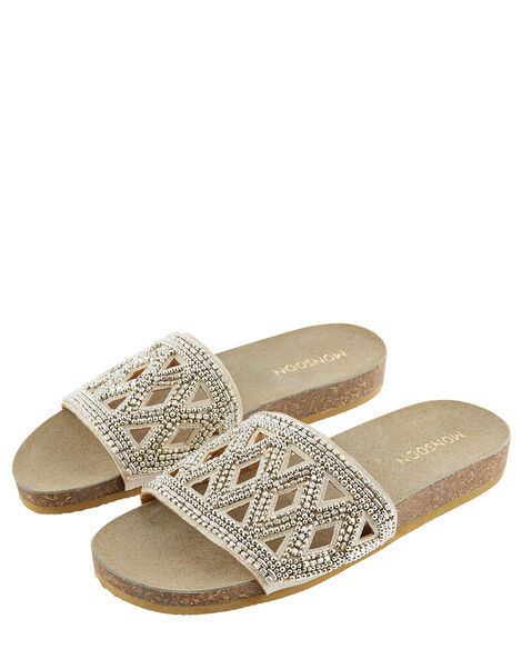 Beaded Slider Sandals Gold, Gold (GOLD), large