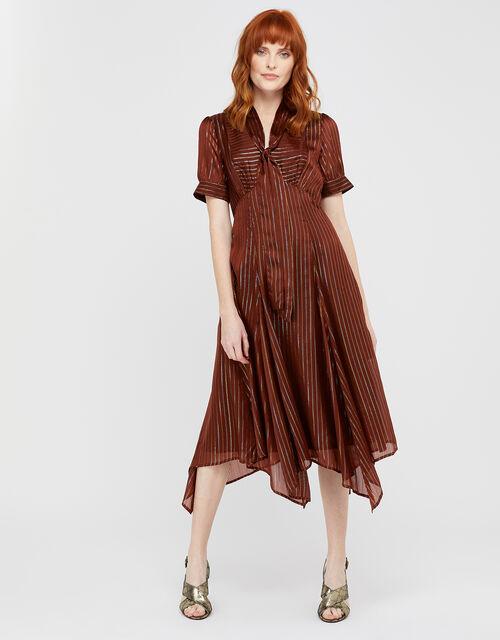 Elodie Metallic Stripe Dress, Brown (CHOCOLATE), large