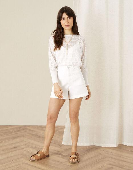 Denim Shorts White, White (WHITE), large
