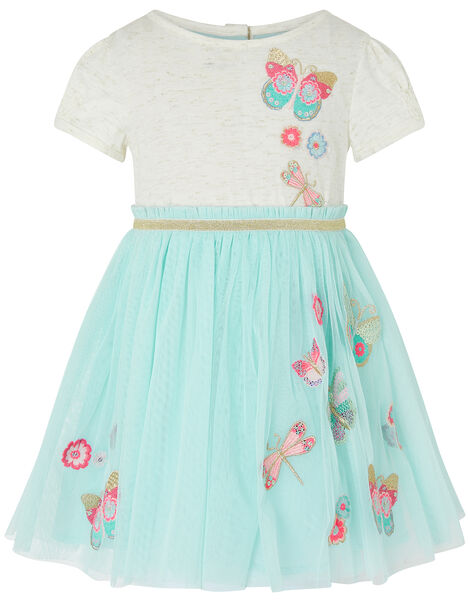 Baby Butterfly Disco Dress Blue, Blue (AQUA), large