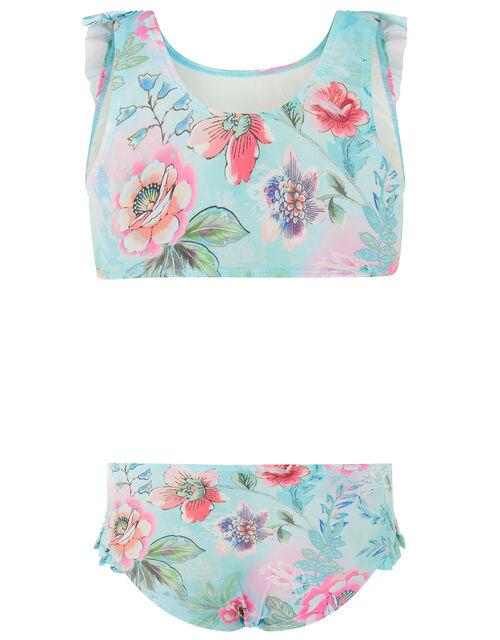Floral Print Bikini Set, Blue (TURQUOISE), large
