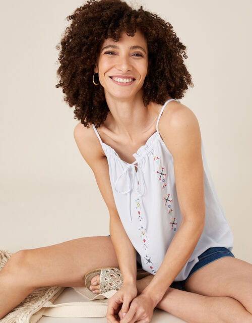Embroidered Cami Top in LENZING™ ECOVERO™, Blue (BLUE), large