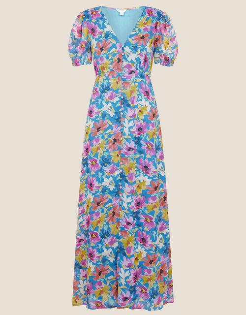Shirrin Floral Tea Dress, Blue (COBALT), large