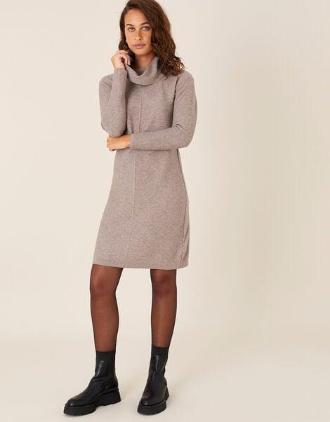 Cali Cowl Neck Knit Dress Brown, Brown (MOCHA), large
