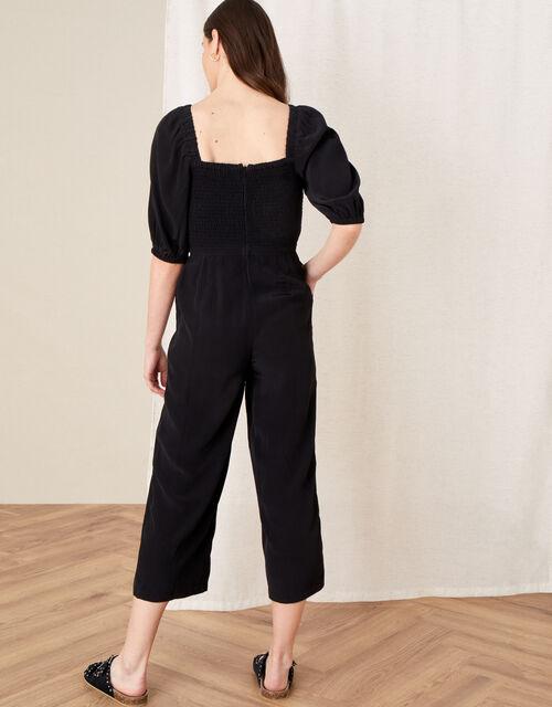 Fleur Shirred Drawstring Jumpsuit, Black (BLACK), large