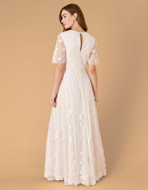 Tanja Floral Embroidered Bridal Dress, Ivory (IVORY), large