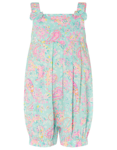 Baby Paisley Romper in Organic Cotton Blue, Blue (TURQUOISE), large