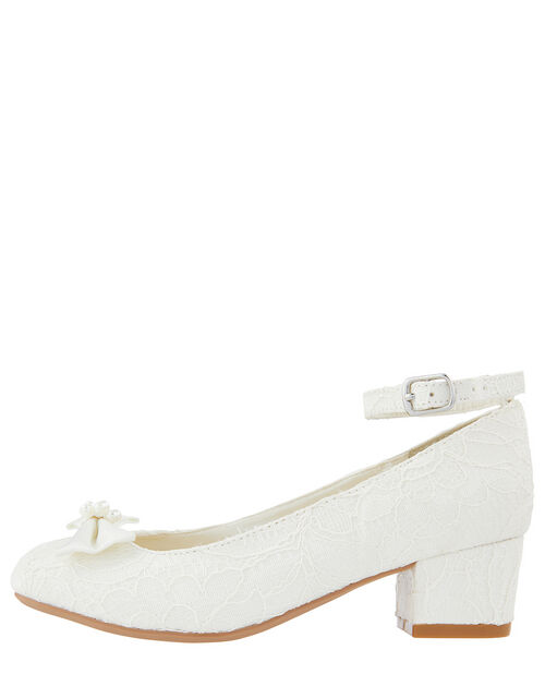 Lara Shimmer Lace Shoes, Ivory (IVORY), large