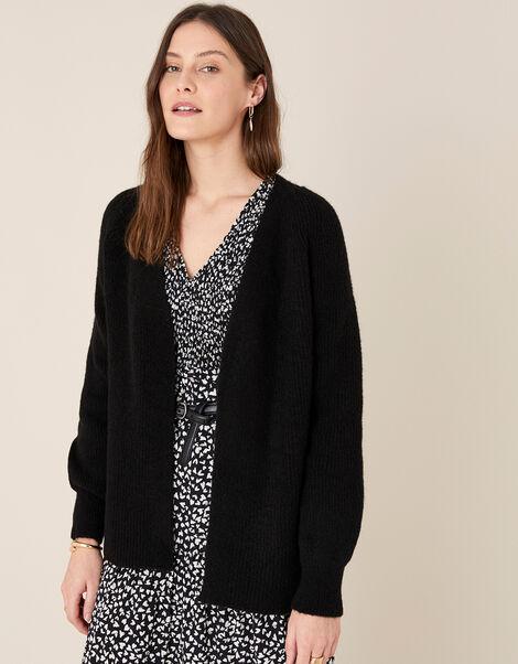 Cosy Knit Cardigan in Wool Blend Black, Black (BLACK), large