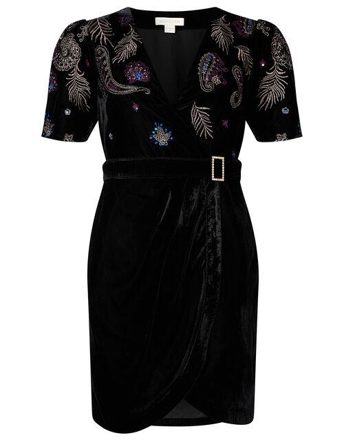 Patrice Paisley Embroidered Velvet Dress, Black (BLACK), large