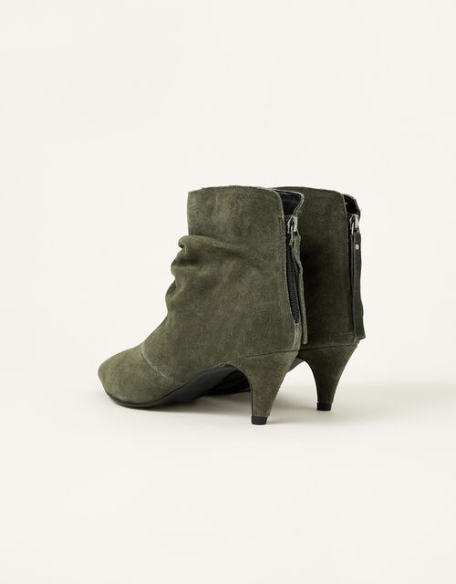 Slouch Suede Kitten Boots, Green (KHAKI), large