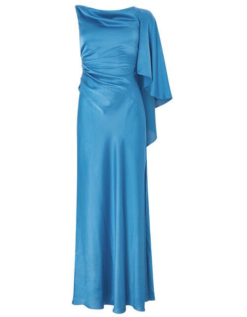 Cobie Satin Cape Maxi Dress, Blue, large