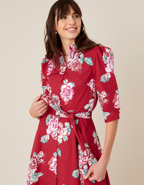 Robyn Rose Floral Shirt Dress Red, Red (RED), large