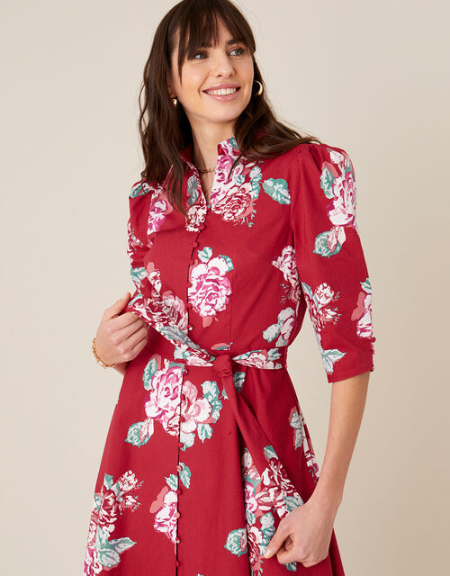 Robyn Rose Floral Shirt Dress, Red (RED), large