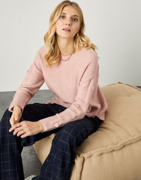 Honeycomb Stitch Button Sleeve Jumper Pink, Pink (SOFT PINK), large