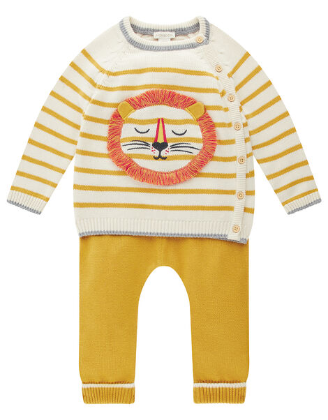 Newborn Baby Lion and Stripe Knit Set Yellow, Yellow (MUSTARD), large